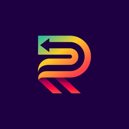 Letter R logo with arrow inside. Vector bright colours typeface for delivery labels, business headlines, finance posters, sport cards etc.
