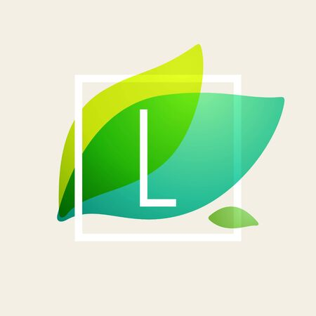 L letter logo in square frame at green leaves watercolor background. Vector ecology typeface for botanical labels, floral headlines, recycle posters, organic cards etc.