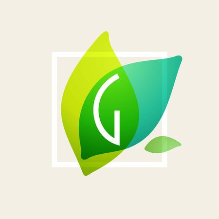 G letter logo in square frame at green leaves watercolor background. Vector ecology typeface for botanical labels, floral headlines, recycle posters, organic cards etc.