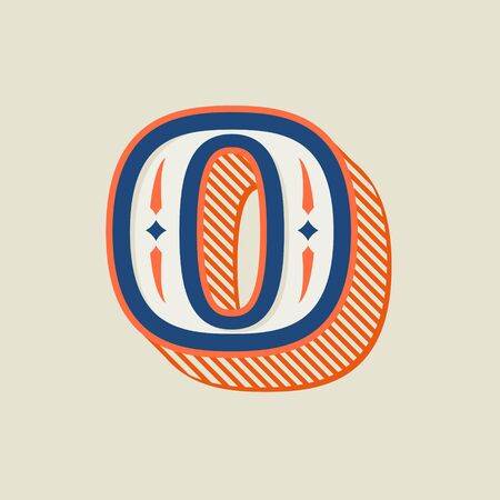 O letter logo in vintage western style with striped shadow. Vector font for barber shop labels, sport posters, jewelry cards etc.