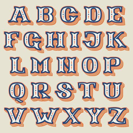Alphabet in vintage western style with striped shadow. Vector font for barber shop labels, sport posters, jewelry cards etc. Vecteurs
