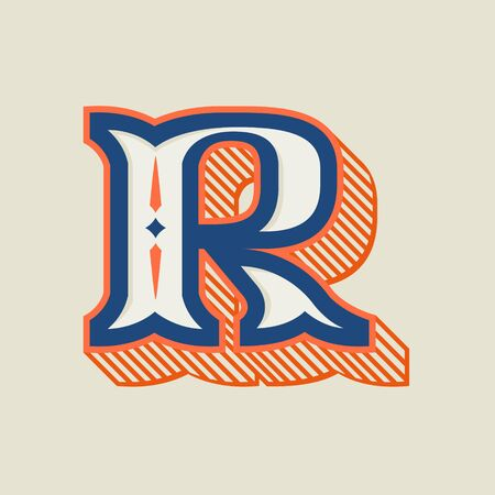 R letter logo in vintage western style with striped shadow. Vector font for barber shop labels, sport posters, jewelry cards etc.