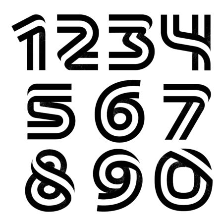 Numbers set formed by two parallel lines with noise texture. Vector black and white typeface for labels, headlines, posters, cards etc.
