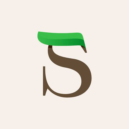 Ecology S serif letter logo with green leaf. Vector classic typeface for eco labels, vegan headlines, bio posters,  organic etc.
