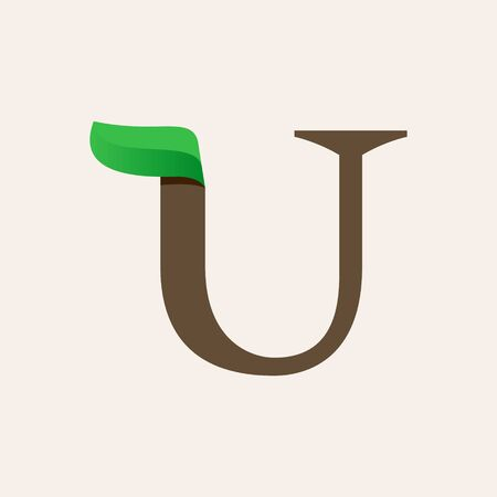 Ecology U serif letter logo with green leaf. Vector classic typeface for eco labels, vegan headlines, bio posters,  organic etc.