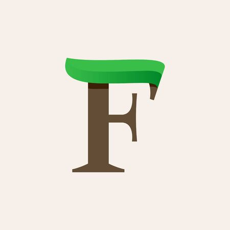 Ecology F serif letter logo with green leaf. Vector classic typeface for eco labels, vegan headlines, bio posters,  organic etc.