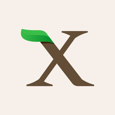 Ecology X serif letter logo with green leaf. Vector classic typeface for eco labels, vegan headlines, bio posters,  organic etc.