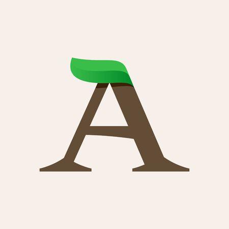 Ecology A serif letter logo with green leaf. Vector classic typeface for eco labels, vegan headlines, bio posters,  organic etc. Illusztráció