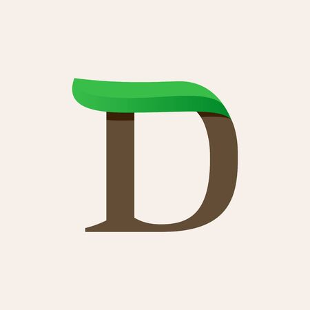 Ecology D serif letter logo with green leaf. Vector classic typeface for eco labels, vegan headlines, bio posters,  organic etc.