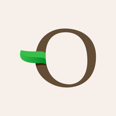 Ecology O serif letter logo with green leaf. Vector classic typeface for eco labels, vegan headlines, bio posters, organic etc.