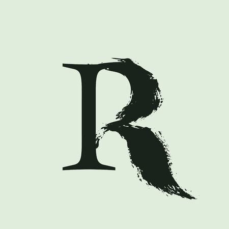 R letter logo. Custom serif style lettering with hand drawn brush stroke. Classic vector font for your fashion poster, jewelry badge, vintage banner, boutique card etc.
