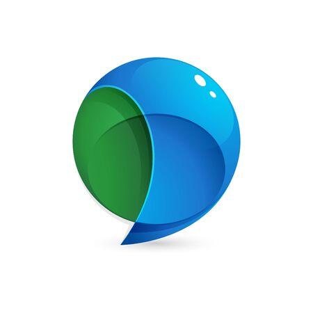 Logo de bulle de discours sphère. Modèle de conception de vecteur de concept à la mode, dynamique et coloré