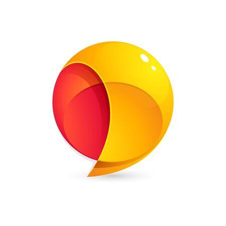 Sphere speech bubble logo. Trendy, vibrant and colorful concept vector design template Illusztráció