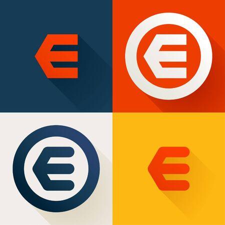 Letter E line logo set. Vector bright colours typeface for delivery labels, business headlines, finance posters, sport cards etc. Illusztráció