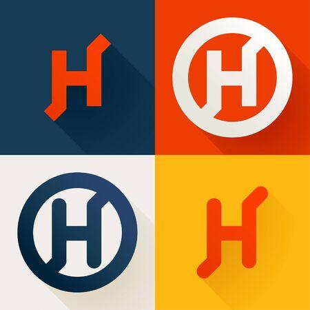 Letter H line logo set. Vector bright colours typeface for delivery labels, business headlines, finance posters, sport cards etc. Illusztráció