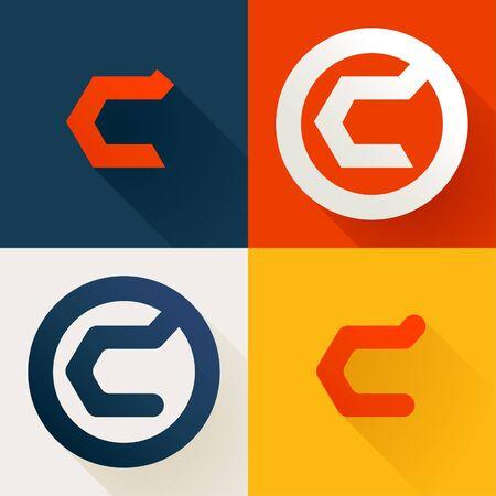 Letter C line logo set. Vector bright colours typeface for delivery labels, business headlines, finance posters, sport cards etc. Illusztráció