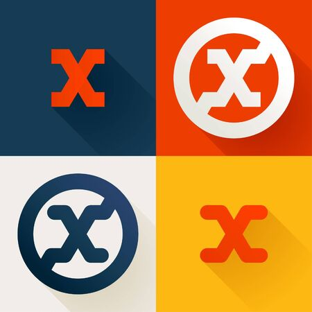 Letter X line logo set. Vector bright colours typeface for delivery labels, business headlines, finance posters, sport cards etc.