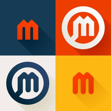 Letter M line logo set. Vector bright colours typeface for delivery labels, business headlines, finance posters, sport cards etc.
