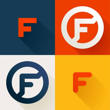 Letter F line logo set. Vector bright colours typeface for delivery labels, business headlines, finance posters, sport cards etc.