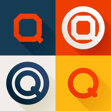 Letter Q line logo set. Vector bright colours typeface for delivery labels, business headlines, finance posters, sport cards etc.