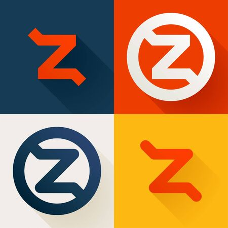 Letter Z line logo set. Vector bright colours typeface for delivery labels, business headlines, finance posters, sport cards etc.