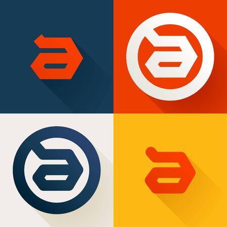 Letter A line logo set. Vector bright colours typeface for delivery labels, business headlines, finance posters, sport cards etc. Illusztráció