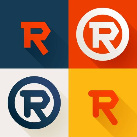 Letter R line logo set. Vector bright colours typeface for delivery labels, business headlines, finance posters, sport cards etc.