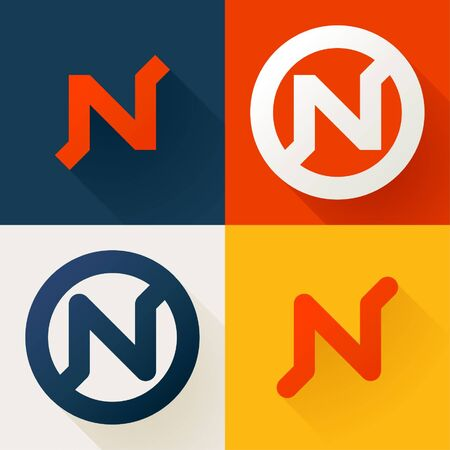 Letter N line logo set. Vector bright colours typeface for delivery labels, business headlines, finance posters, sport cards etc.