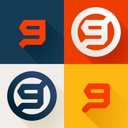 Letter G line logo set. Vector bright colours typeface for delivery labels, business headlines, finance posters, sport cards etc.