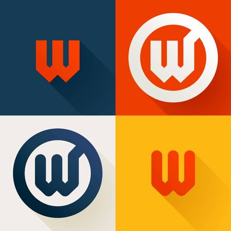Letter W line logo set. Vector bright colours typeface for delivery labels, business headlines, finance posters, sport cards etc.