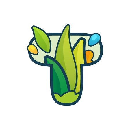 T letter eco logo with green leaves and dew drops. Vector ornate typeface for natural labels, organic company, vegan posters etc.