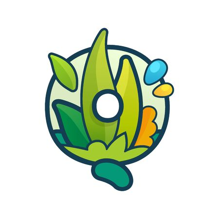 Q letter eco logo with green leaves and dew drops. Vector ornate typeface for natural labels, organic company, vegan posters etc.