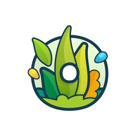 O letter eco logo with green leaves and dew drops. Vector ornate typeface for natural labels, organic company, vegan posters etc. Illusztráció