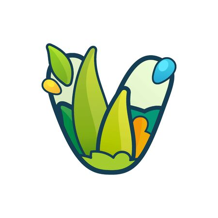 V letter eco logo with green leaves and dew drops. Vector ornate typeface for natural labels, organic company, vegan posters etc.