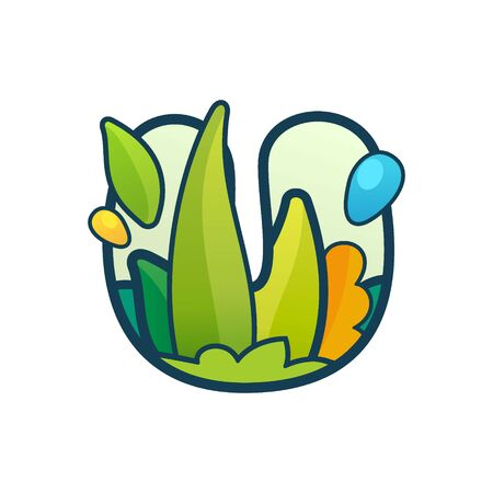 U letter eco logo with green leaves and dew drops. Vector ornate typeface for natural labels, organic company, vegan posters etc.