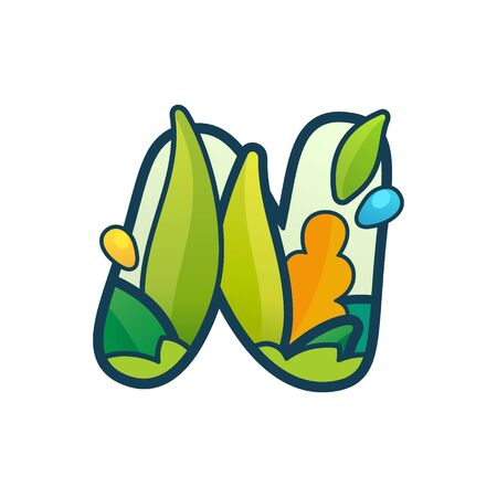 N letter eco logo with green leaves and dew drops. Vector ornate typeface for natural labels, organic company, vegan posters etc.