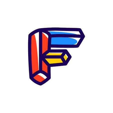 F letter icon. Illustration