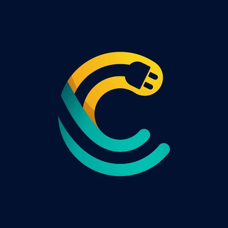 C letter with plug cable inside. Vector typeface for electric car identity, technology headlines, charging posters etc. Иллюстрация