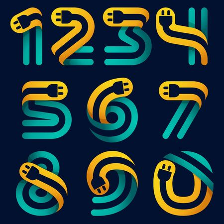 Numbers set with plug cable inside. Vector typeface for electric car identity, technology headlines, charging posters etc. Ilustração