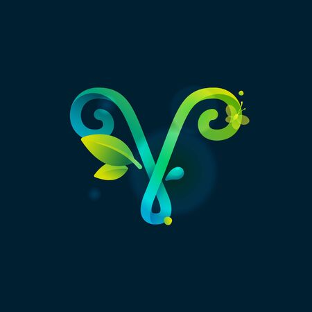V letter eco logo with green curved lines, leaves and dew drops. Vector handwritten script font for nature labels, bio company, spring posters etc.