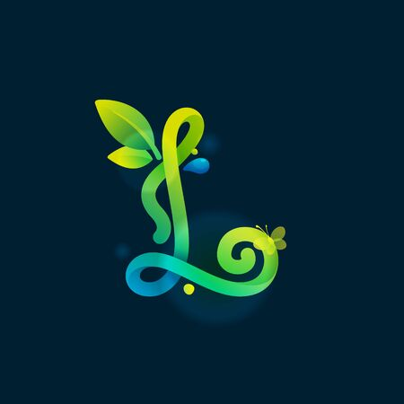 L letter eco logo with green curved lines, leaves and dew drops. Vector handwritten script font for nature labels, bio company, spring posters etc.