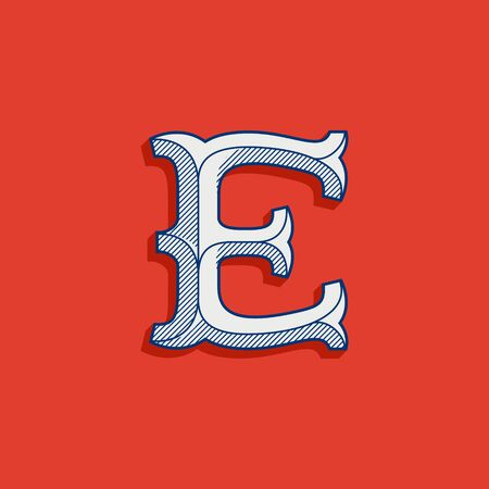 E letter logo in classic sport team style. Vintage slab serif font with lines shadow. Perfect for victorian identity, luxury package, retro book, western diploma, etc.