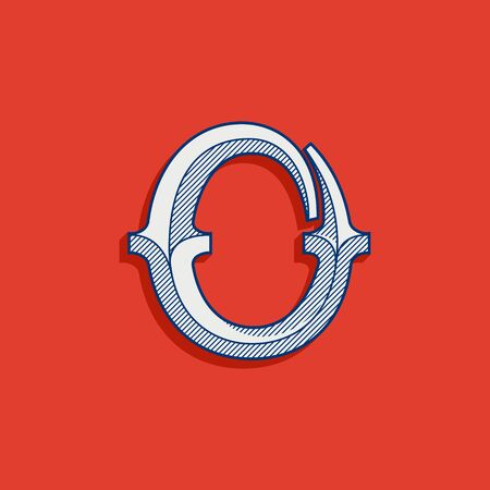 O letter logo in classic sport team style. Vintage slab serif font with lines shadow. Perfect for victorian identity, luxury package, retro book, western diploma, etc. Logo