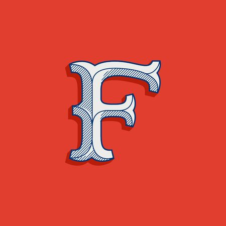 F letter logo in classic sport team style. Vintage slab serif font with lines shadow. Perfect for victorian identity, luxury package, retro book, western diploma, etc. Ilustração