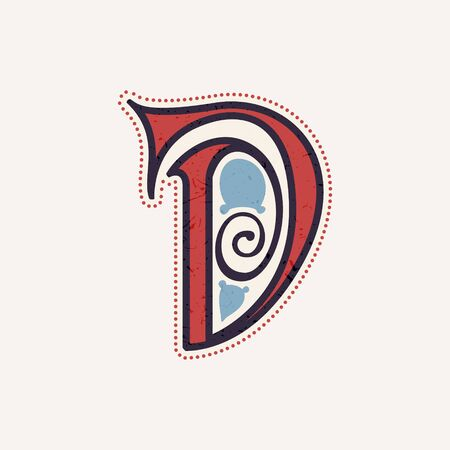 D letter logo in true celtic knot-spiral style. Perfect typeface for for history identity, medieval print, tribal posters, etc.