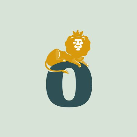 O letter logo with lying lion. Vector serif font perfect for premium labels, vintage posters and real estate identity, etc.