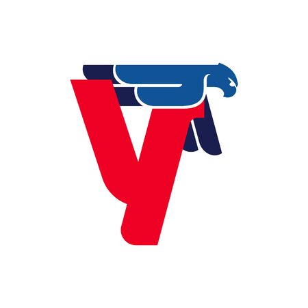 Y letter logo with flying eagle. Vector oblique font perfect for sport labels, army posters and fast delivery identity, etc.