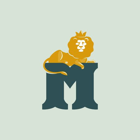 M letter logo with lying lion. Vector serif font perfect for premium labels, vintage posters and real estate identity, etc.