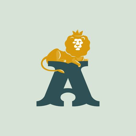 Letter A logo with lying lion. Vector serif font perfect for premium labels, vintage posters and real estate identity, etc.