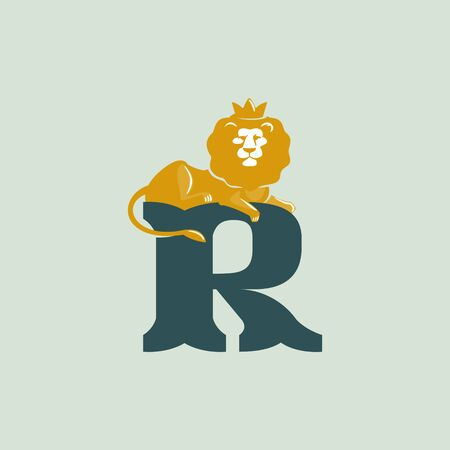 R letter logo with lying lion. Vector serif font perfect for premium labels, vintage posters and real estate identity, etc. Ilustração